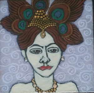 Mata Hari Acrylic on Panel, 5X5 inches