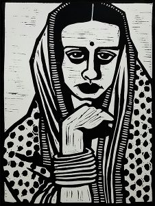 Amrita Sher-Gil 9X12 inches Linocut Print on Paper