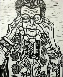 Iris Apfel 12X15 inches Linocut Print on Paper