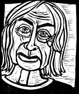 Joan Didion 9X12 inches Linocut Print on Paper