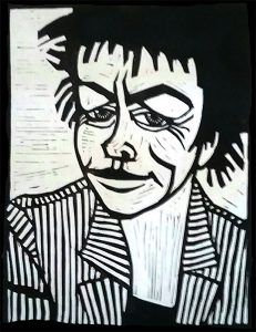 Laurie Anderson 9X12 inches Linocut Print on Paper