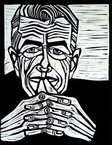Leonard Cohen 9X12 inches Linocut Print on Paper